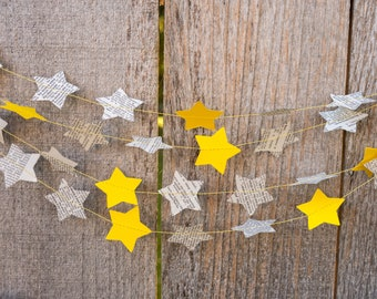 Twinkle Little Star Paper Garland - Dictionary Stars, Yellow Stars - Choose your length - Ready to Ship