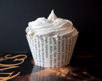 Lord of the Rings Cupcake Wrappers - One dozen wrappers - Book pages - Upcycled - Lord of the Rings party - Ready to ship