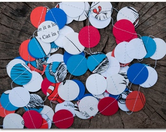 The Cat in the Hat Paper Circles Garland - 9 feet - The Cat in the Hat with red, white & blue card stock - Ready to ship