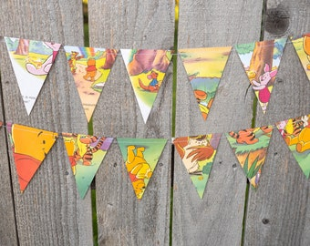 Book Bunting - Winnie the Pooh - Party decoration, bunting, garland, upcycled - Baby shower, nursery - Paper Decor -  Ready to ship