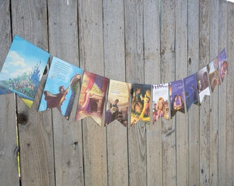 Book Bunting - Rapunzel Tangled Bunting - Party decoration, bunting, garland, upcycled - Paper Decor -  Ready to ship