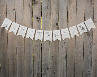 Winnie the Pooh Book Bunting - Party decoration, bunting, garland, upcycled - Paper Decor -  Ready to ship