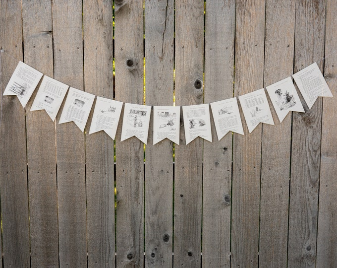 Featured listing image: Winnie the Pooh Book Bunting - Party decoration, bunting, garland, upcycled - Paper Decor -  Ready to ship