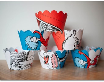 Cupcake Wrappers - The Cat in the Hat - Ready to ship