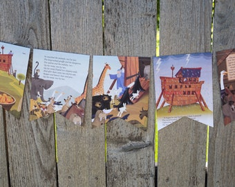 Book Bunting - Noah's Ark Bunting - Party decoration, baby shower, garland, upcycled - Paper Decor -  Ready to ship