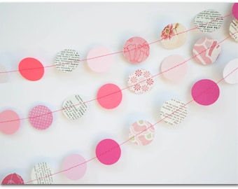 Pink Circles Garland - Dictionary paper, pink cardstock, patterned paper - Repurposed, upcycled - 1 inch circles - Ready to ship