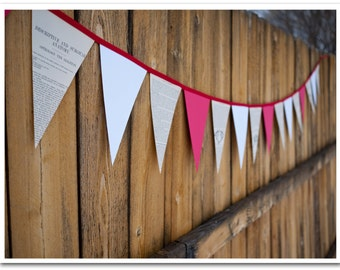 Doctor or Nurse Bunting - 9 feet - Vintage book pages, red & white card stock - Red bias tape - Ready to ship