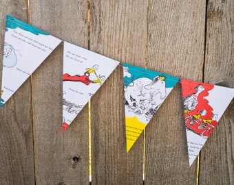 Book Bunting - One Fish, Two Fish Book Banner - Dr. Seuss - Party decoration, garland, upcycled - Paper Decor -  Ready to ship