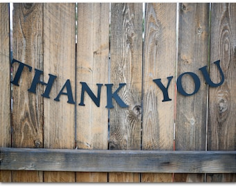 "Thank You Banner - Black 4"" high letters - 36"" long banner - Photo prop, wedding sign - Ready to ship"