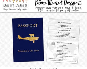 Plane Passport Printable PDF - 5x7 - Party invitation, baby shower, bridal shower, birthday party - Digital Template - Instant download