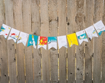 Book Banner - One Fish, Two Fish Book Banner - Dr. Seuss - Party decoration, garland, upcycled - Paper Decor -  Ready to ship