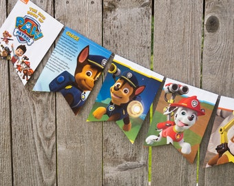 Recycled Book Bunting - Paw Patrol - Party decoration, bunting, garland, upcycled - Paper Decor -  Ready to ship
