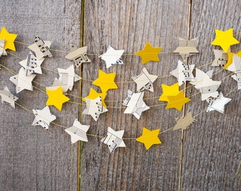 Twinkle Little Star Paper Garland - Sheet Music, Yellow Stars - Choose your length - Ready to Ship