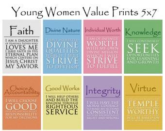 5x7 LDS Young Women Values - 8 print value pack  - Digital Prints