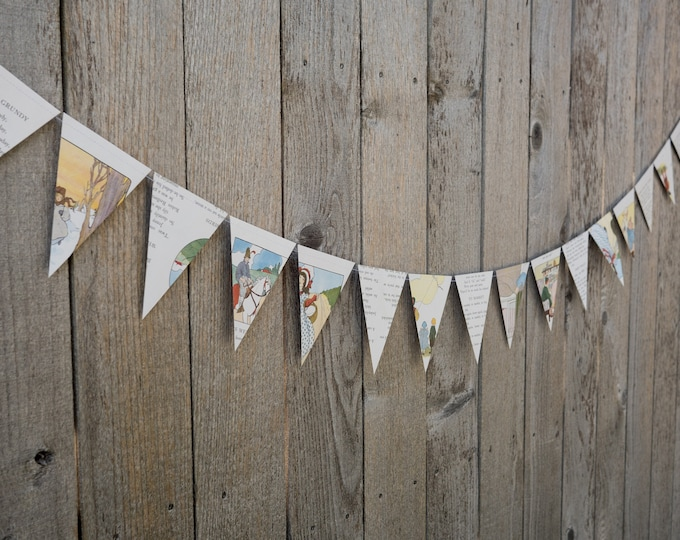 Featured listing image: Nursery Rhyme Book Bunting - Mother Goose - Party decoration, baby shower bunting, garland, upcycled - Paper Decor -  Ready to ship
