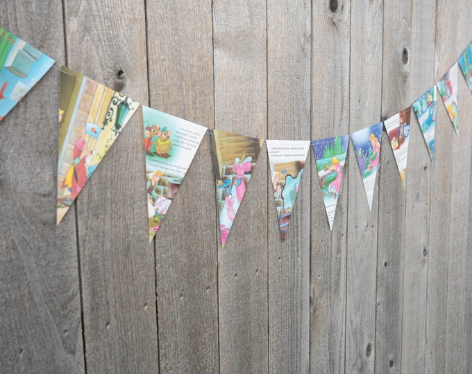 Featured listing image: Book Bunting - Cinderella Bunting - Party decoration, bunting, garland, upcycled - Paper Decor -  Ready to ship