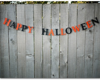 Happy Halloween Paper Sign - 5 feet - Black and orange card stock 4 inch letters - Halloween party decoration garland
