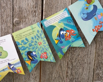 Recycled Book Bunting - Finding Nemo - Party decoration, bunting, garland, upcycled - Paper Decor -  Ready to ship