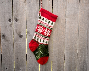 Hand knit Christmas Stocking - Poinsettia flower/Snowflake - Red, White, Green  - Made to Order - Customizable