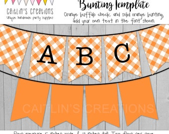 Printable Orange Buffalo Plaid Banner - Halloween or Thanksgiving decor, birthday party, wedding - Swallow tail flags - Template DIY