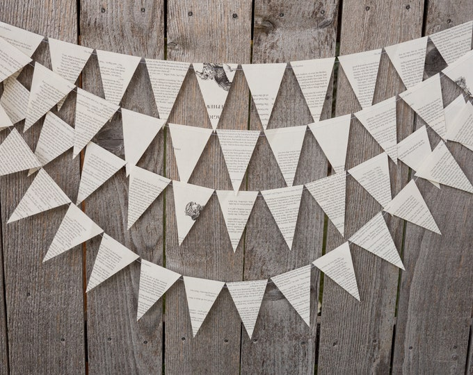 Featured listing image: Book Bunting - Chronicles of Narnia - Wedding, Baby shower, Bridal Shower, Nursery, Dorm Room Decor - Paper Decor -  Ready to ship
