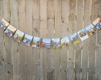Thomas the Train Book Bunting - Train Party decoration, bunting, garland, upcycled - Paper Decor -  Ready to ship