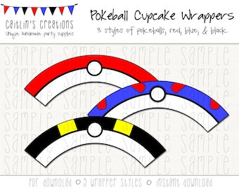 Printable Pokeball Cupcake Wrappers - Instant Download - Pokemon, Pokeballs - DIY, Printable, Party decor