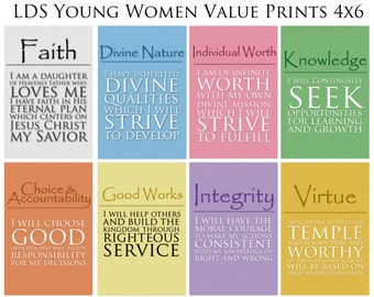 4x6 LDS Young Women Values - 8 print value pack - Digital Prints