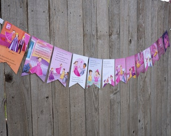 Book Bunting - Pinkalicious Bunting - Party decoration, bunting, garland, upcycled, pink - Paper Decor -  Ready to ship