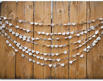 Paper Hearts Garland - Wedding Garland - Paper Hearts - 5 or 10 yards - Vintage dictionary hearts - Ready to Ship