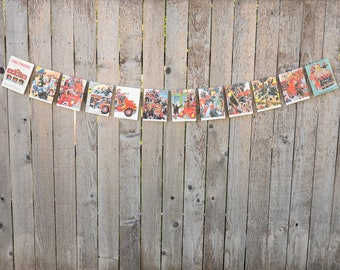 Fire Engine Book Bunting - Vintage Little Golden Book - Boy bunting, Party decoration, bunting, upcycled - Paper Decor -  Ready to ship