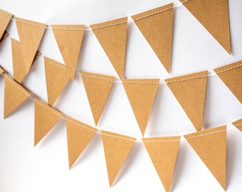 Mini Bunting - Brown Craft Paper - Wedding, Baby shower, Bridal Shower - Paper Decor -  Ready to ship