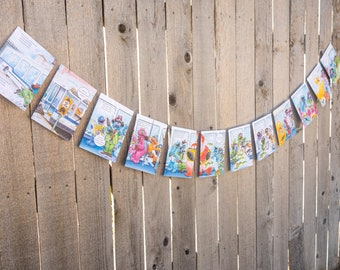 Sesame Street Book Bunting - Cookie Monster, Big Bird, Oscar, Grover - Baby shower, Party decoration, bunting, garland, upcycled