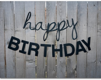 Happy Birthday Banners - 30 and 45 inches long - Happy Birthday Sign - Simple, classic, black, plain, paper - Ready to ship