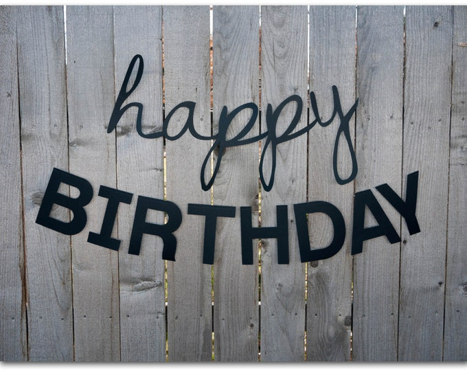 Featured listing image: Happy Birthday Banners - 30 and 45 inches long - Happy Birthday Sign - Simple, classic, black, plain, paper - Ready to ship