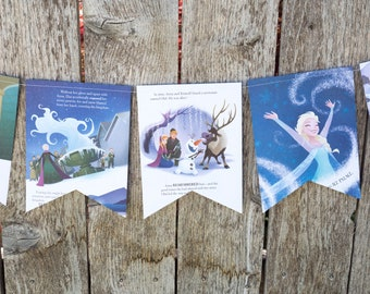 Book Bunting - Frozen - Princess party, Anna & Elsa - Paper banner, bunting, garland, upcycled - Paper Decor -  Ready to ship