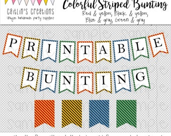Printable Striped Bunting Template - Classroom decor, birthday party, baby shower, library decor - Swallow tail flags - DIY