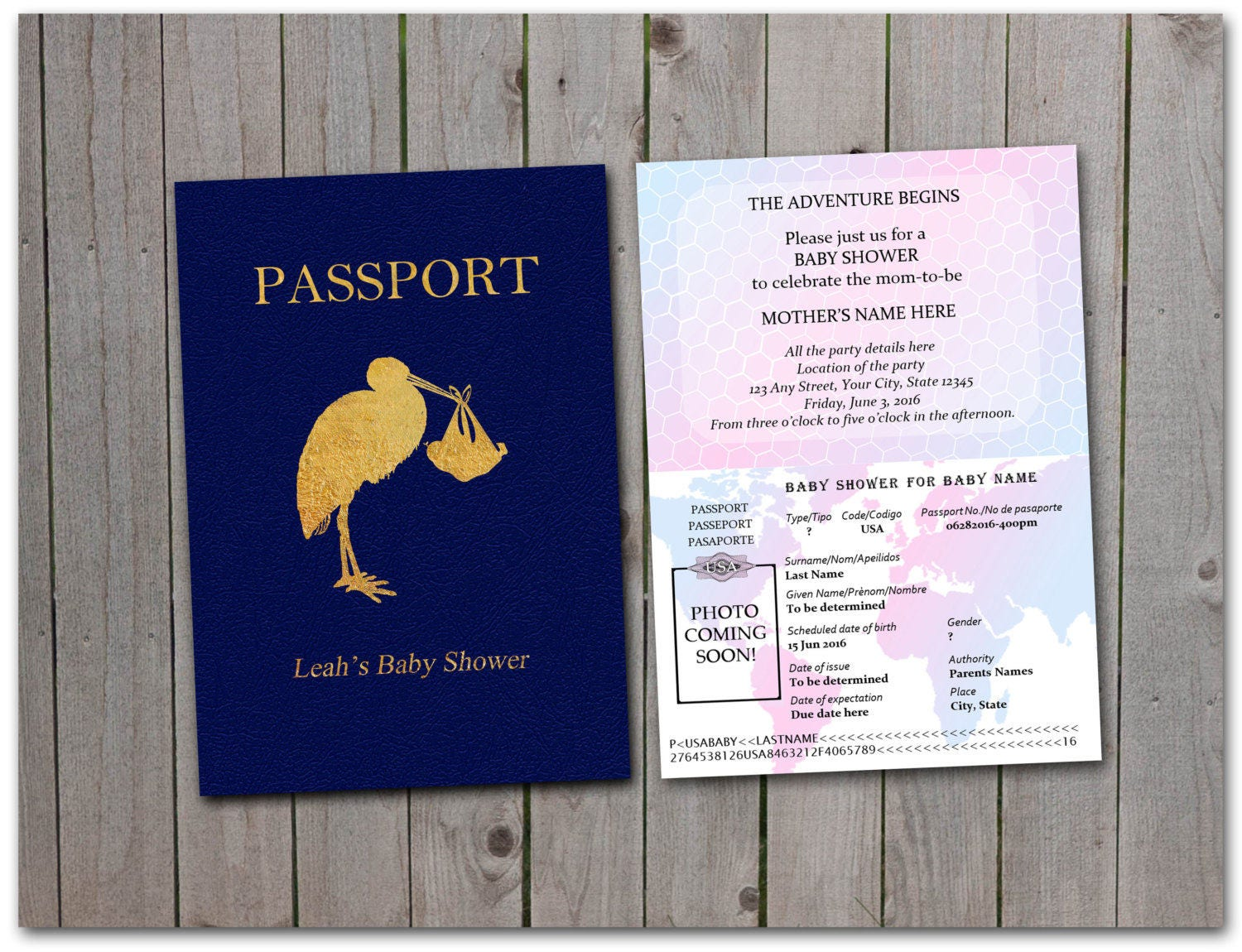 Printable Baby Shower Passport 5x7 Instant Download Stork Etsy