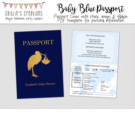 Items Similar To Printable Passport With Blue Background