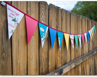 Dr. Seuss Paper Bunting - 9 feet - Green Eggs & Ham with red, blue, green and yellow card stock - Ready to ship