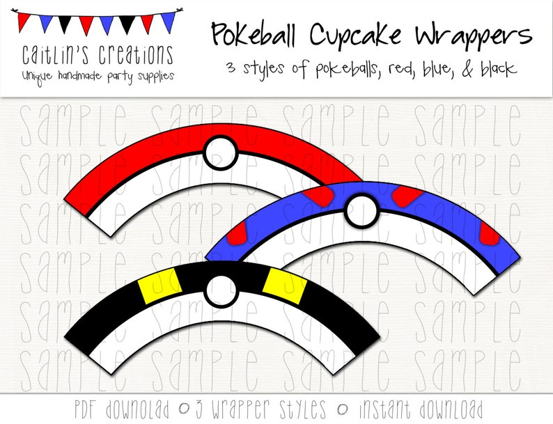 graphic relating to Pokeball Printable identified as Printable Pokeball Cupcake Wrappers - Fast Down load - Pokemon, Poke - Do it yourself, Printable, Celebration decor