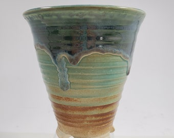 Handmade Pottery Green and Rust Vase