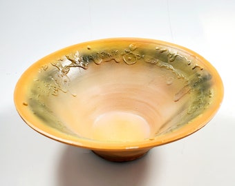 Uniquely Beautiful Handmade Pottery Shallow Bowl with Velvety Orange and Green Glaze