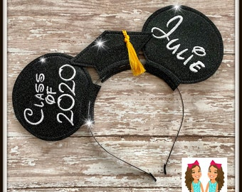 Personalized CUSTOM Graduation Cap Mouse Ears Headband - Twincess Bowtique