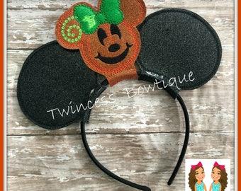 NEW!  Halloween PUMPKIN Mrs. Mouse Ears Headband - CUSTOM - Twincess Bowtique