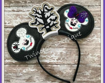 Day of the Dead Mouse Ears Headband by Twincess Bowtique - CUSTOM