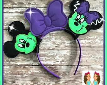 NEW! GLOW in Dark Franken Mouse Ears Headband - CUSTOM - Twincess Bowtique