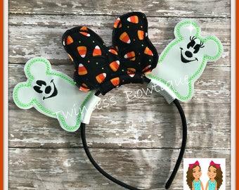 NEW! GLOW Halloween Ghosts Mouse Ears Headband - CUSTOM - Twincess Bowtique