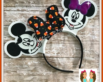 NEW! GLOW Halloween Vampire Mouse Ears Headband - CUSTOM - Twincess Bowtique