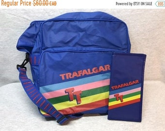 3328ac695dfc29 SPRING SALE Vintage Trafalgar Rainbow on Blue Vinyl Travel Carry on  Overnight Bag and Matching Wallet or Passport Holder 80s
